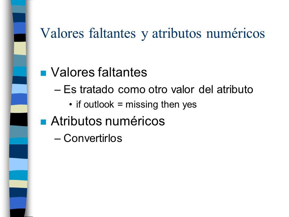 Valores faltantes y atributos numéricos