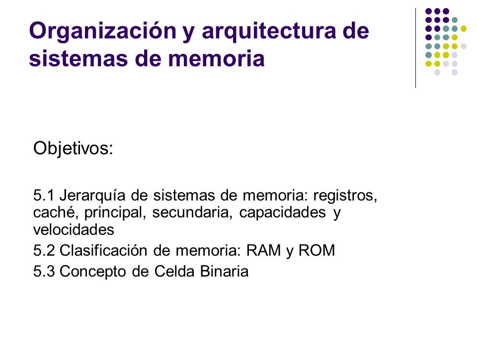 Organización y arquitectura de sistemas de memoria