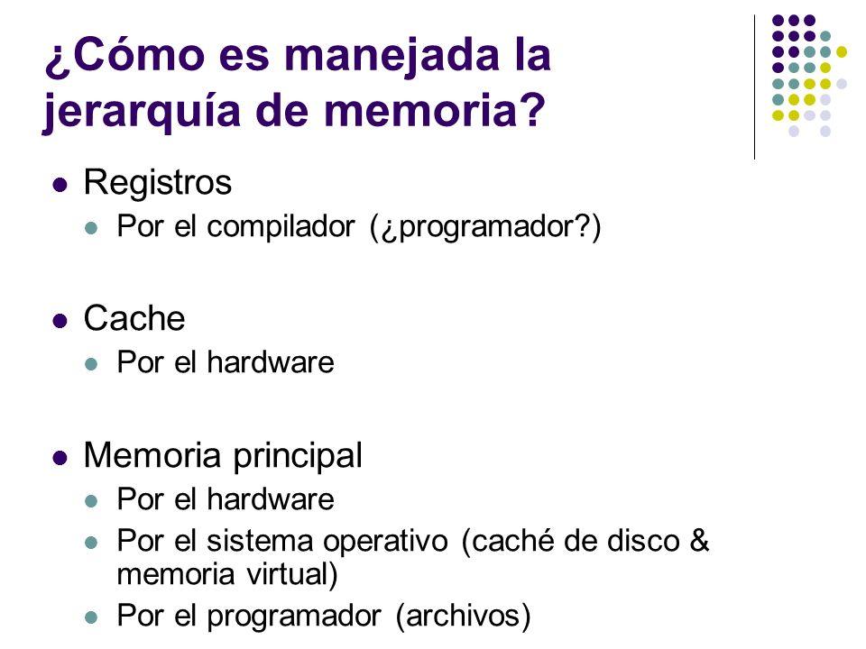 ¿Cómo es manejada la jerarquía de memoria