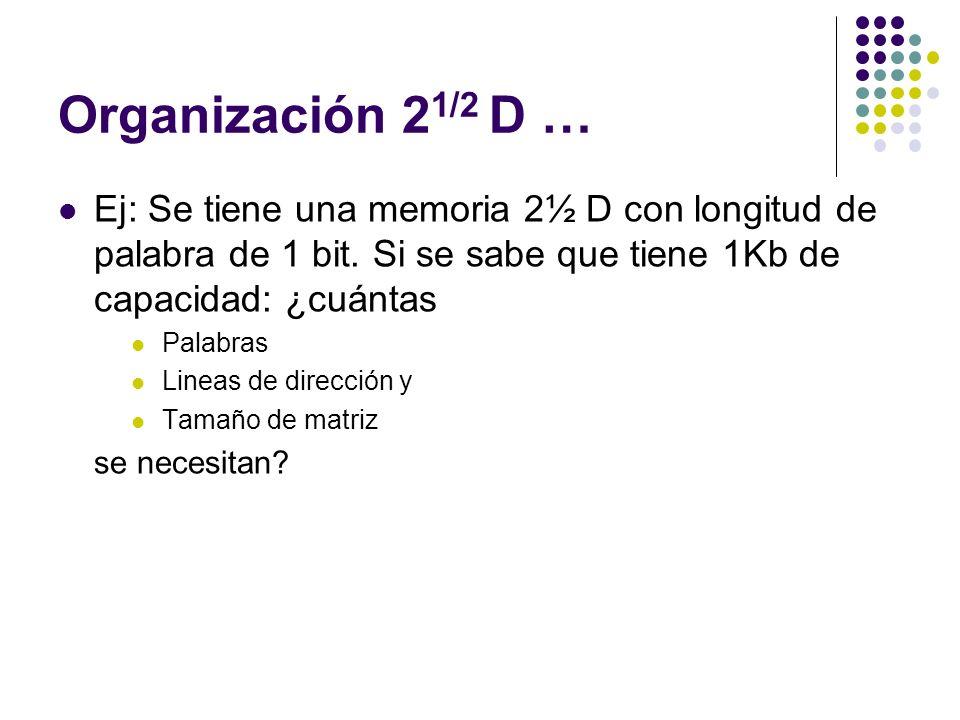 Organización 21/2 D … Ej: Se tiene una memoria 2½ D con longitud de palabra de 1 bit. Si se sabe que tiene 1Kb de capacidad: ¿cuántas.