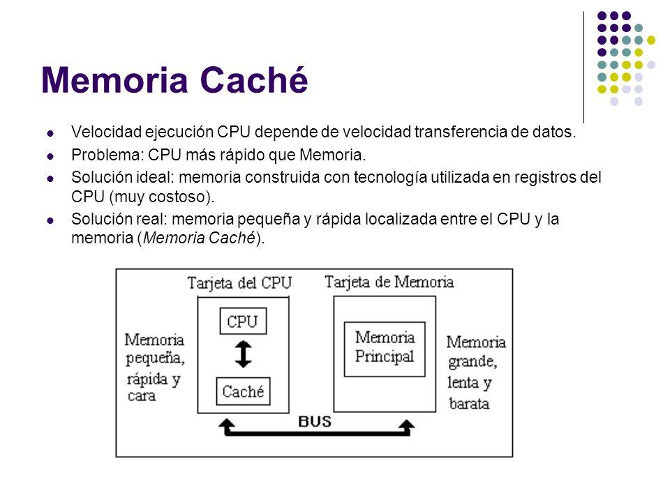 Memoria Caché Velocidad ejecución CPU depende de velocidad transferencia de datos. Problema: CPU más rápido que Memoria.