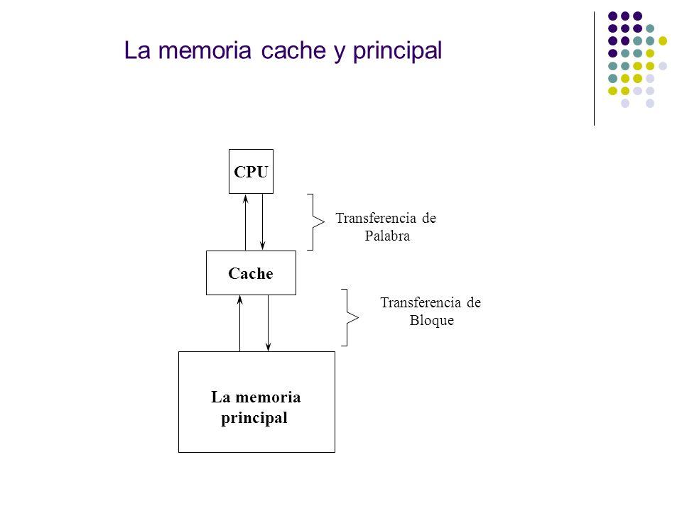 La memoria cache y principal