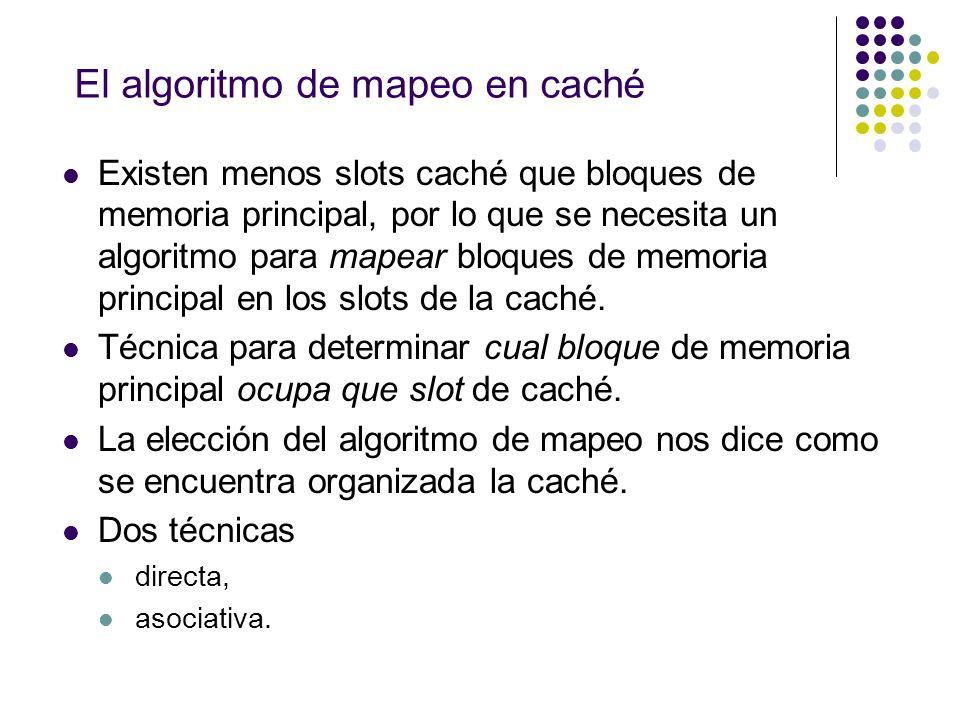 El algoritmo de mapeo en caché