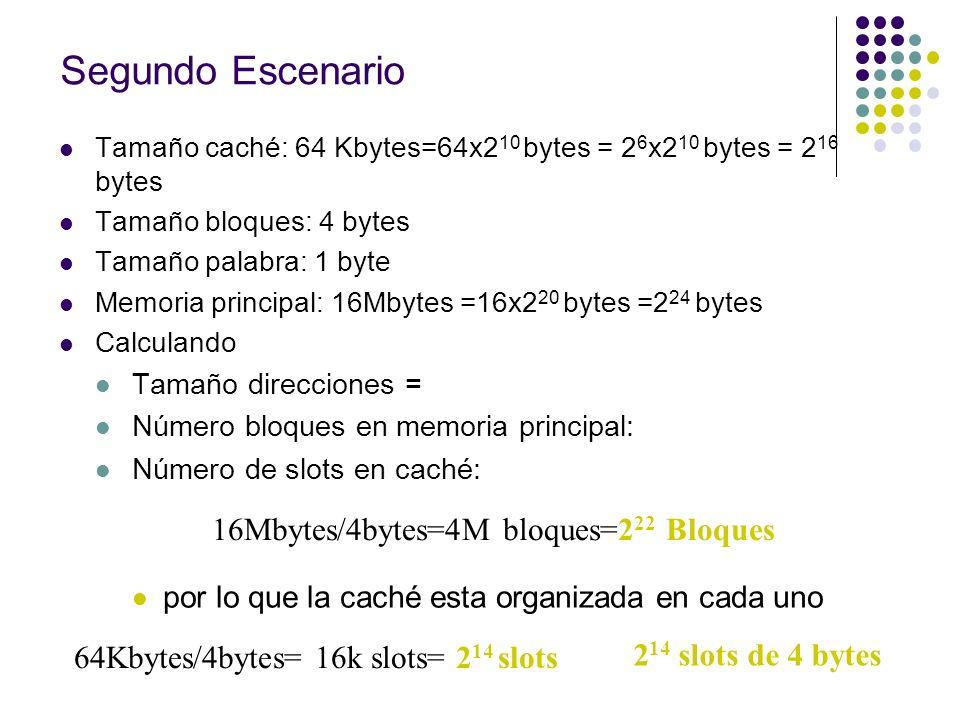 Segundo Escenario 24 bits 16Mbytes/4bytes=4M bloques=222 Bloques
