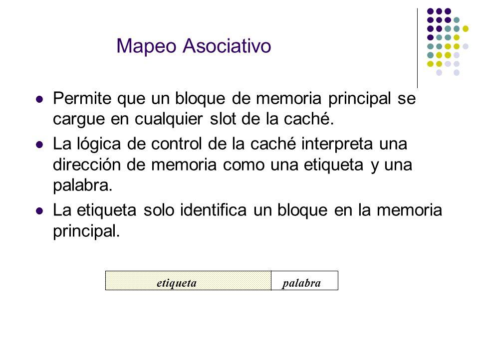 Mapeo Asociativo Permite que un bloque de memoria principal se cargue en cualquier slot de la caché.