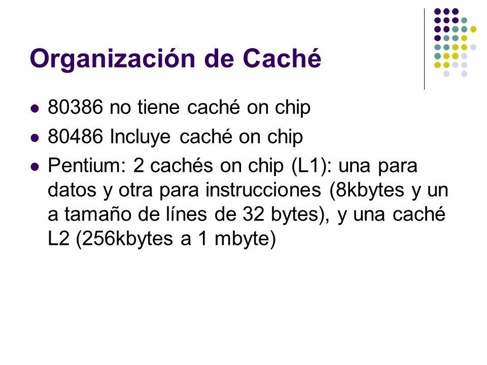 Organización de Caché 80386 no tiene caché on chip