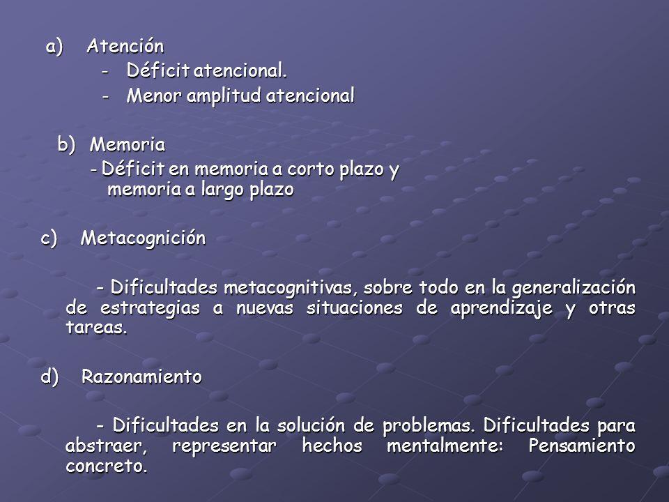 a) Atención - Déficit atencional. - Menor amplitud atencional. b) Memoria.