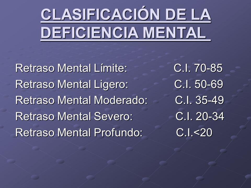 CLASIFICACIÓN DE LA DEFICIENCIA MENTAL