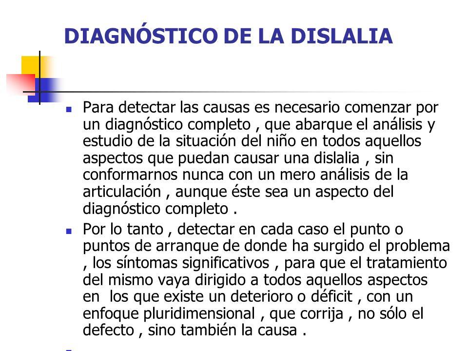 DIAGNÓSTICO DE LA DISLALIA