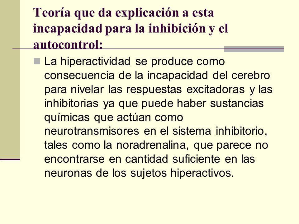 Teoría que da explicación a esta incapacidad para la inhibición y el autocontrol: