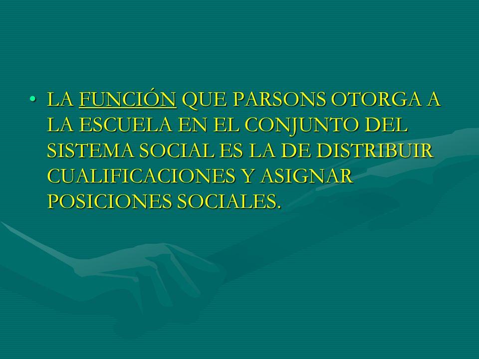 LA FUNCIÓN QUE PARSONS OTORGA A LA ESCUELA EN EL CONJUNTO DEL SISTEMA SOCIAL ES LA DE DISTRIBUIR CUALIFICACIONES Y ASIGNAR POSICIONES SOCIALES.