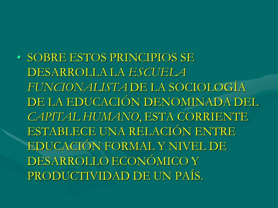 SOBRE ESTOS PRINCIPIOS SE DESARROLLA LA ESCUELA FUNCIONALISTA DE LA SOCIOLOGÍA DE LA EDUCACIÓN DENOMINADA DEL CAPITAL HUMANO, ESTA CORRIENTE ESTABLECE UNA RELACIÓN ENTRE EDUCACIÓN FORMAL Y NIVEL DE DESARROLLO ECONÓMICO Y PRODUCTIVIDAD DE UN PAÍS.