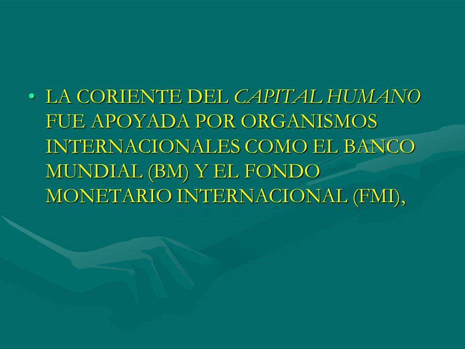 LA CORIENTE DEL CAPITAL HUMANO FUE APOYADA POR ORGANISMOS INTERNACIONALES COMO EL BANCO MUNDIAL (BM) Y EL FONDO MONETARIO INTERNACIONAL (FMI),