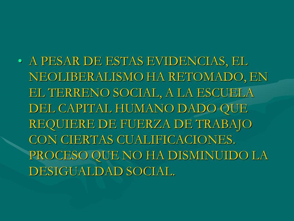 A PESAR DE ESTAS EVIDENCIAS, EL NEOLIBERALISMO HA RETOMADO, EN EL TERRENO SOCIAL, A LA ESCUELA DEL CAPITAL HUMANO DADO QUE REQUIERE DE FUERZA DE TRABAJO CON CIERTAS CUALIFICACIONES.