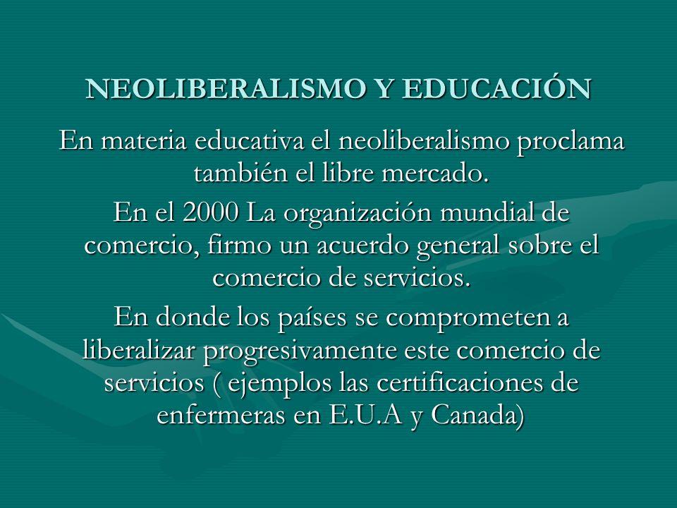 NEOLIBERALISMO Y EDUCACIÓN