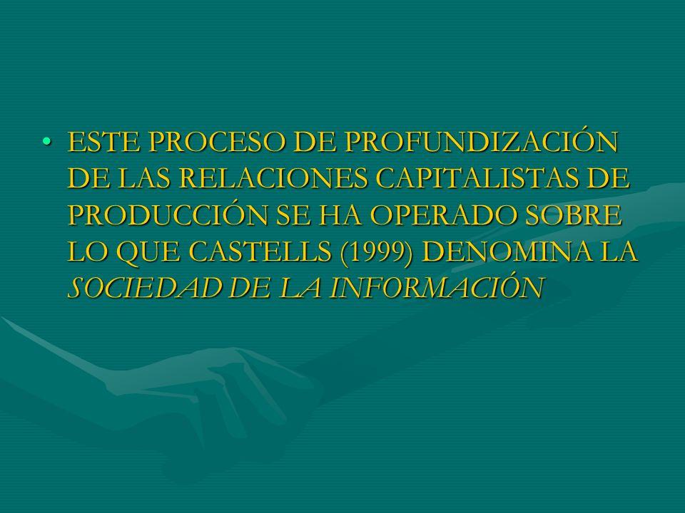 ESTE PROCESO DE PROFUNDIZACIÓN DE LAS RELACIONES CAPITALISTAS DE PRODUCCIÓN SE HA OPERADO SOBRE LO QUE CASTELLS (1999) DENOMINA LA SOCIEDAD DE LA INFORMACIÓN