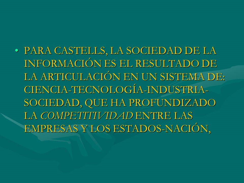 PARA CASTELLS, LA SOCIEDAD DE LA INFORMACIÓN ES EL RESULTADO DE LA ARTICULACIÓN EN UN SISTEMA DE: CIENCIA-TECNOLOGÍA-INDUSTRIA-SOCIEDAD, QUE HA PROFUNDIZADO LA COMPETITIVIDAD ENTRE LAS EMPRESAS Y LOS ESTADOS-NACIÓN,