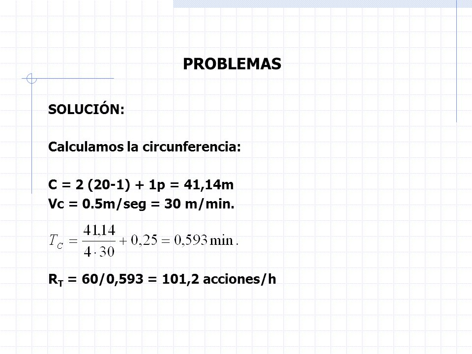 PROBLEMAS SOLUCIÓN: Calculamos la circunferencia: