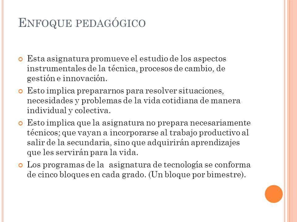 Enfoque pedagógico Esta asignatura promueve el estudio de los aspectos instrumentales de la técnica, procesos de cambio, de gestión e innovación.
