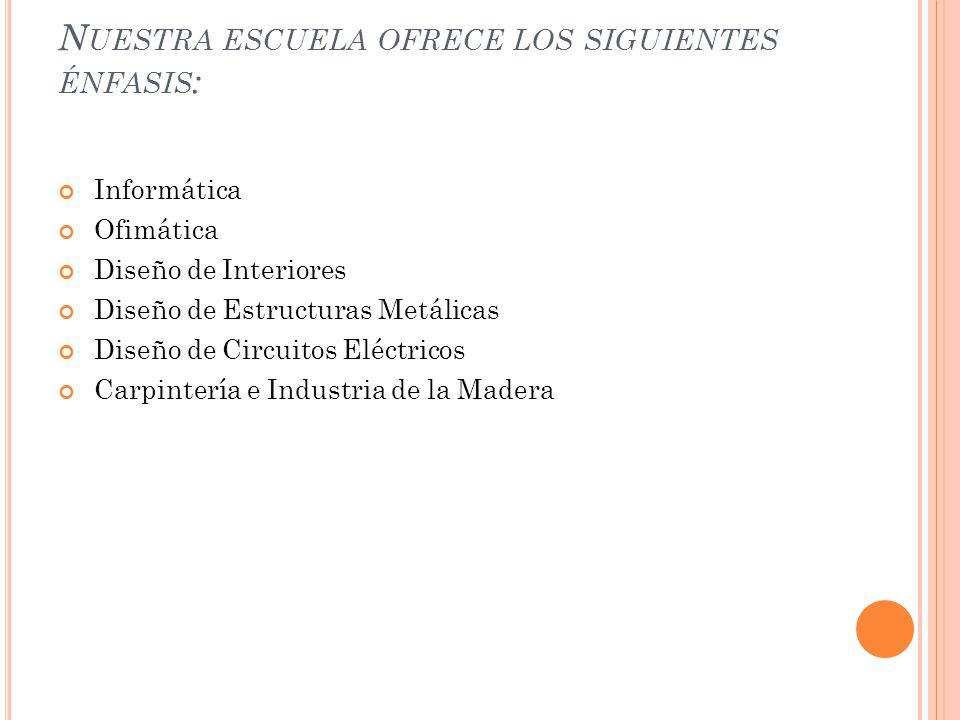 Nuestra escuela ofrece los siguientes énfasis: