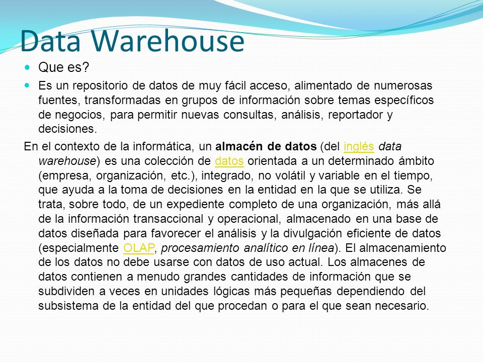 Data Warehouse Que es