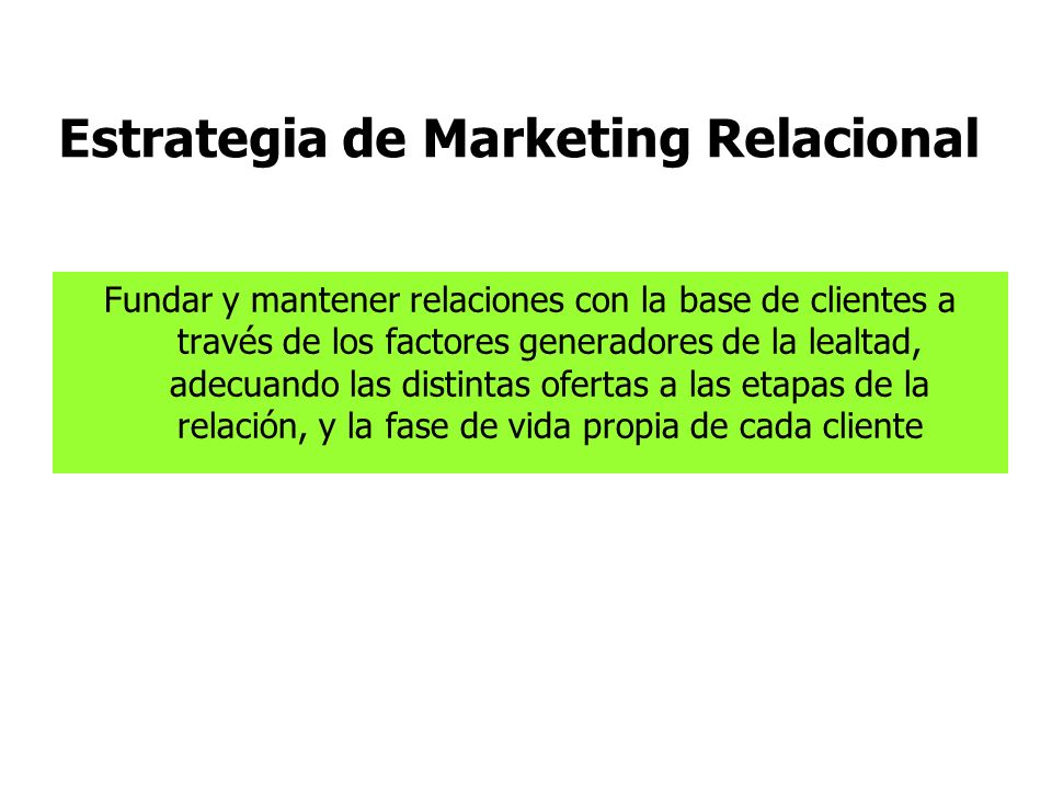 Estrategia de Marketing Relacional