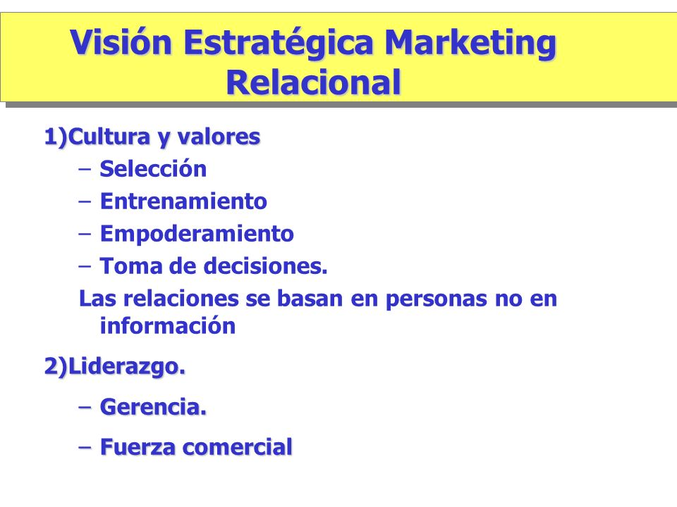 Visión Estratégica Marketing Relacional