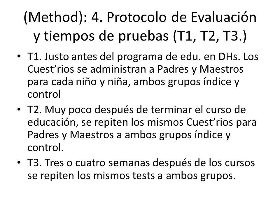 (Method): 4. Protocolo de Evaluación y tiempos de pruebas (T1, T2, T3