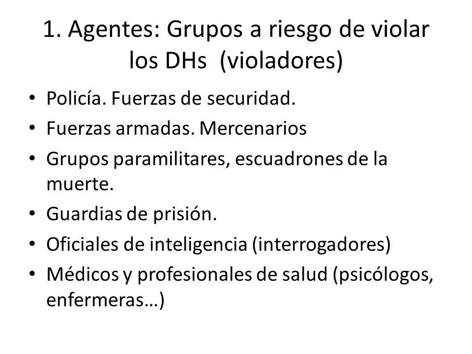 1. Agentes: Grupos a riesgo de violar los DHs (violadores)