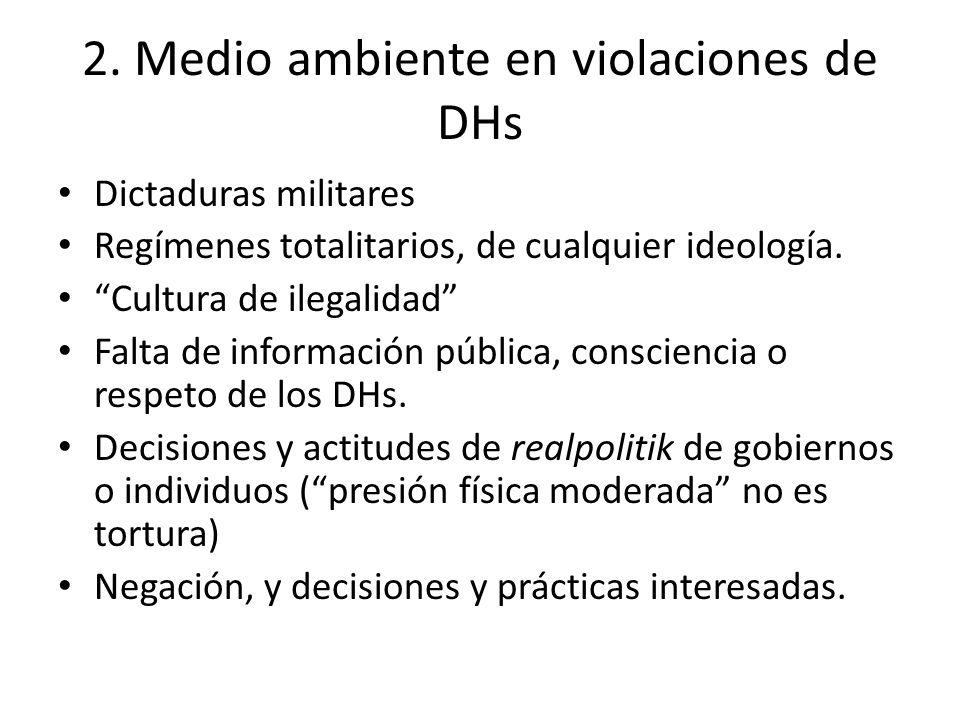 2. Medio ambiente en violaciones de DHs