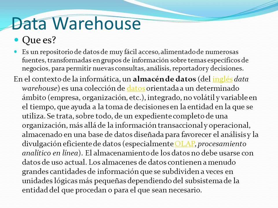 Data Warehouse Que es