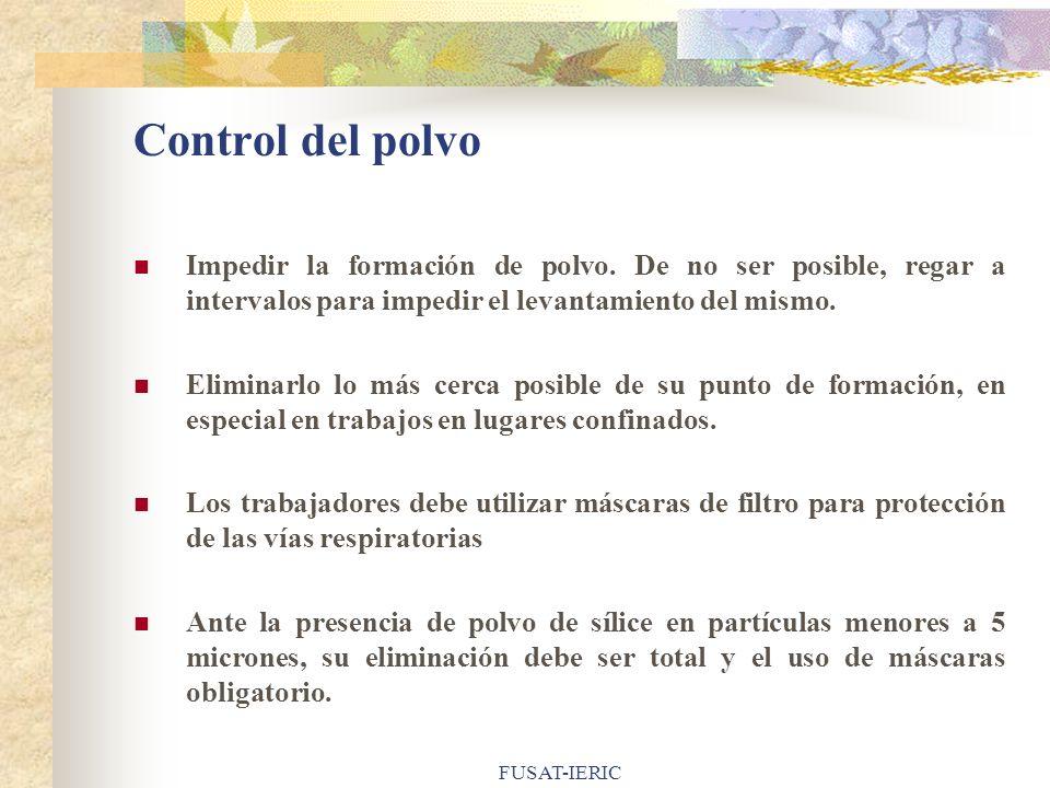 Control del polvo Impedir la formación de polvo. De no ser posible, regar a intervalos para impedir el levantamiento del mismo.