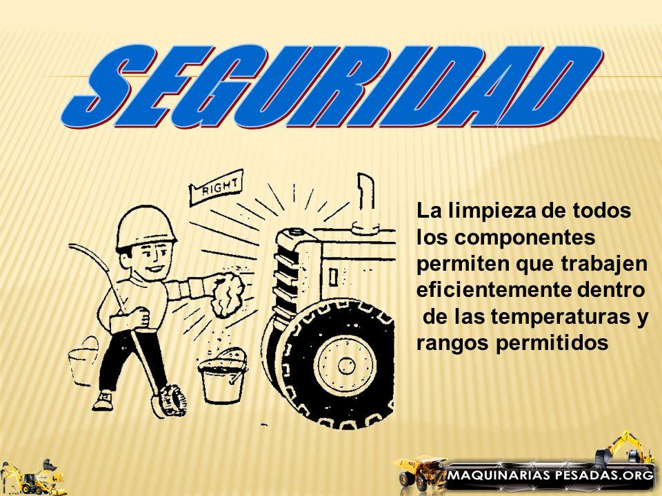 SEGURIDAD La limpieza de todos los componentes permiten que trabajen
