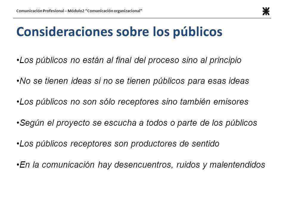 Consideraciones sobre los públicos