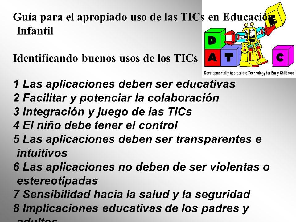 Guía para el apropiado uso de las TICs en Educación Infantil