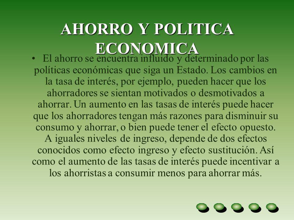 AHORRO Y POLITICA ECONOMICA