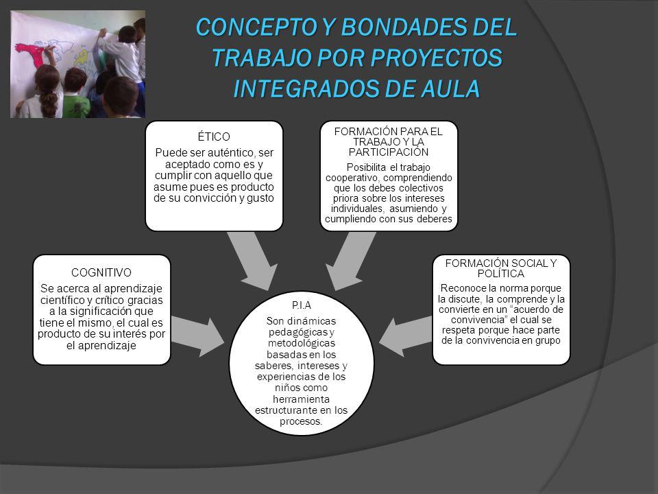 CONCEPTO Y BONDADES DEL TRABAJO POR PROYECTOS INTEGRADOS DE AULA