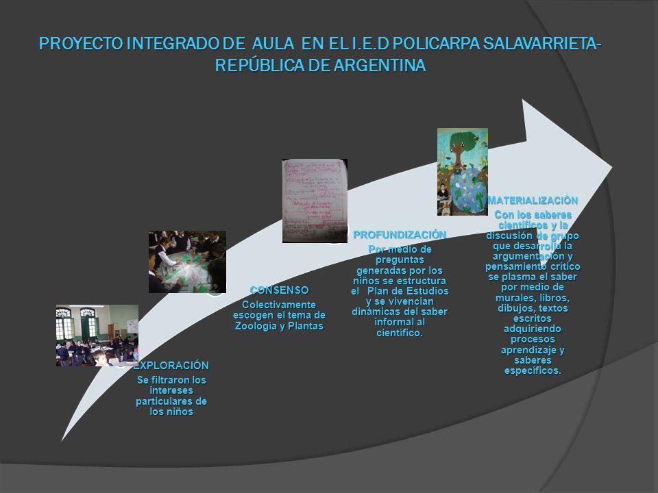 PROYECTO INTEGRADO DE AULA EN EL I. E