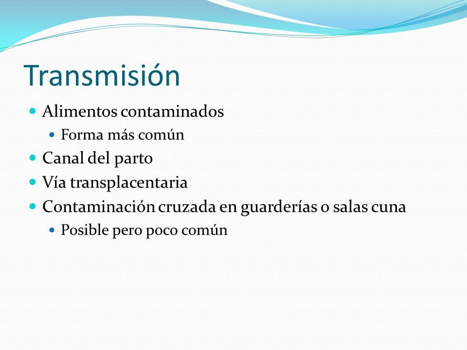 Transmisión Alimentos contaminados Canal del parto