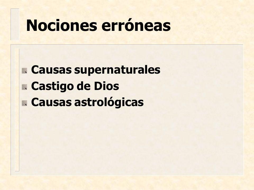Nociones erróneas Causas supernaturales Castigo de Dios