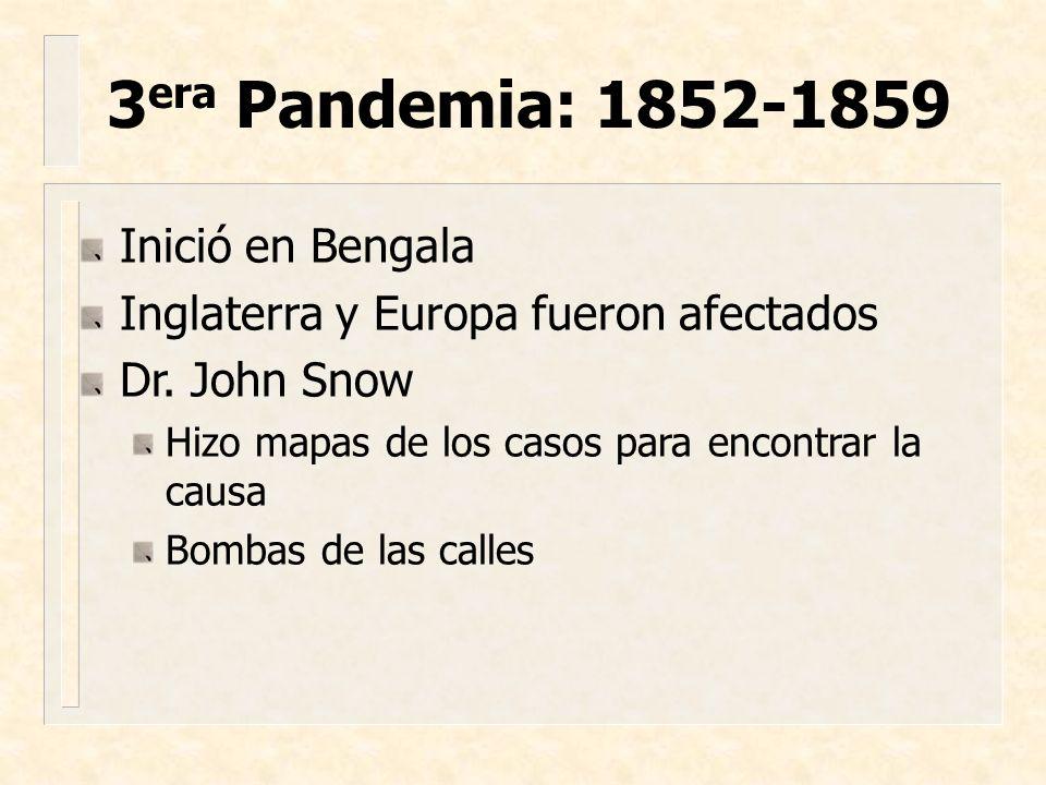 3era Pandemia: 1852-1859 Inició en Bengala
