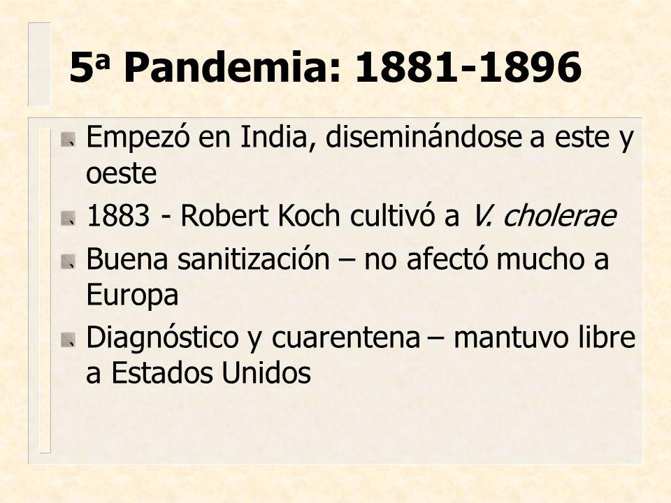 5a Pandemia: 1881-1896 Empezó en India, diseminándose a este y oeste