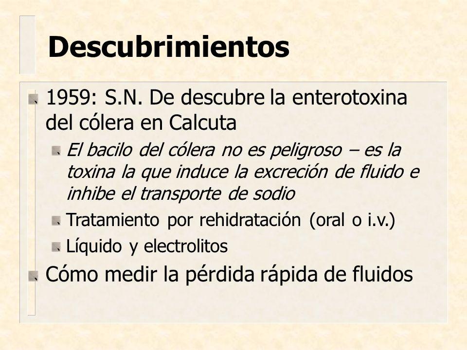 Descubrimientos 1959: S.N. De descubre la enterotoxina del cólera en Calcuta.