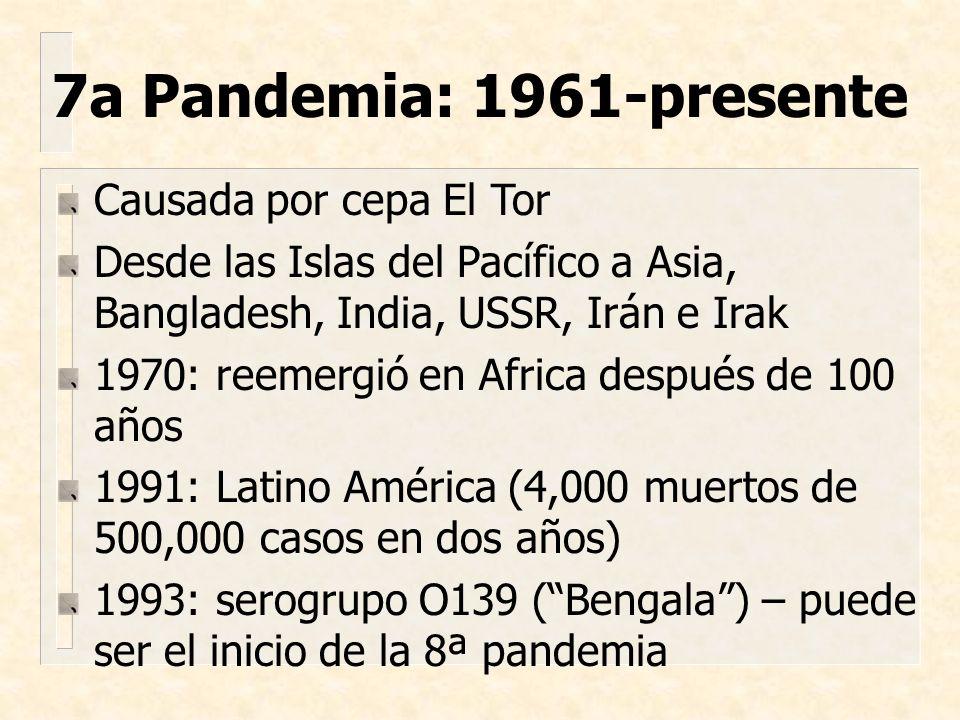 7a Pandemia: 1961-presente Causada por cepa El Tor