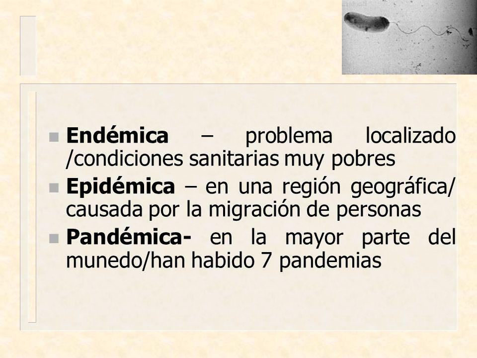 Endémica – problema localizado /condiciones sanitarias muy pobres