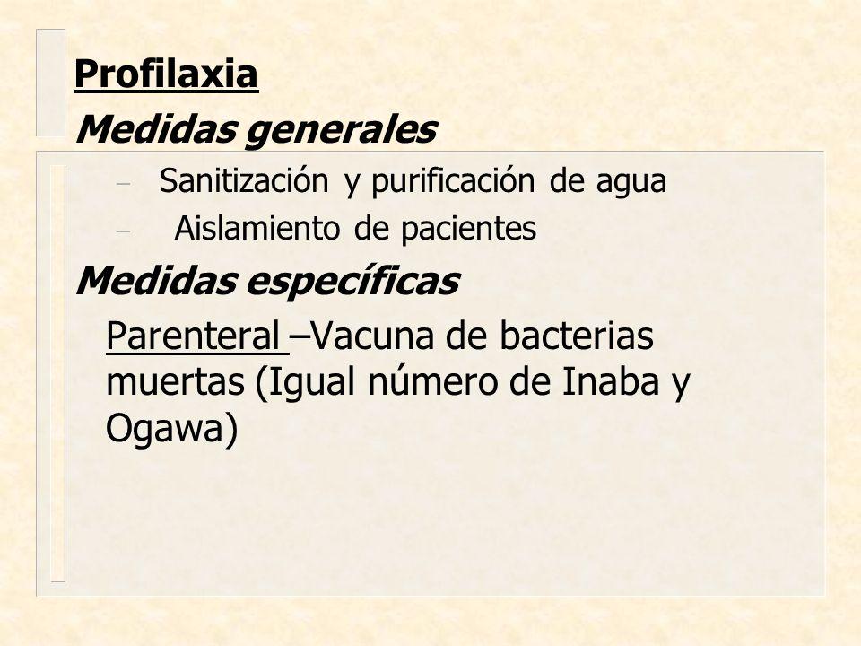 Profilaxia Medidas generales Medidas específicas