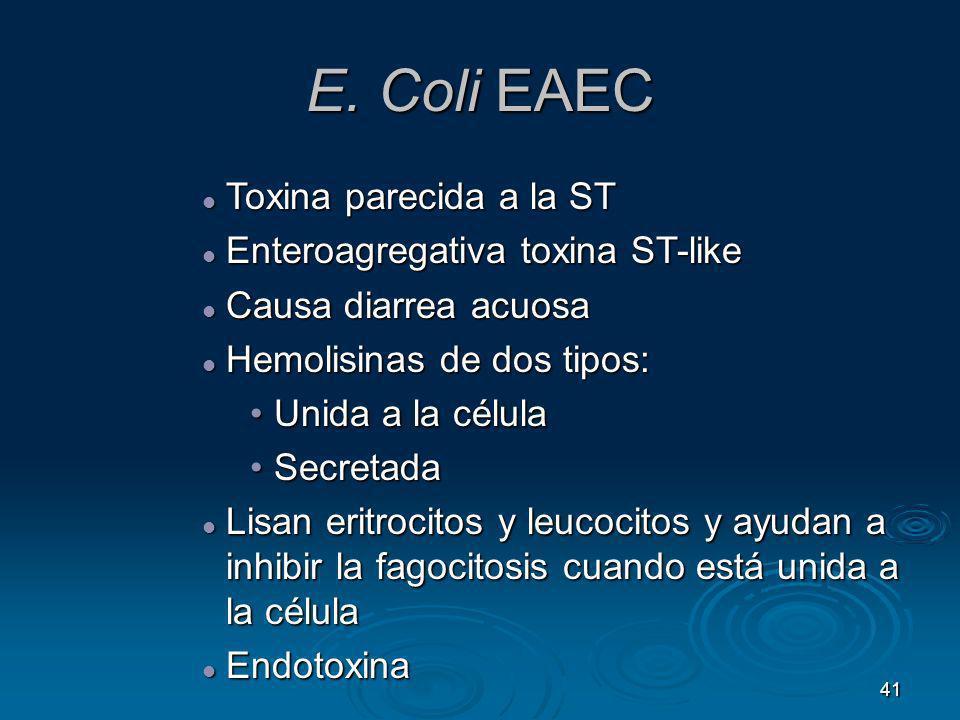 E. Coli EAEC Toxina parecida a la ST Enteroagregativa toxina ST-like