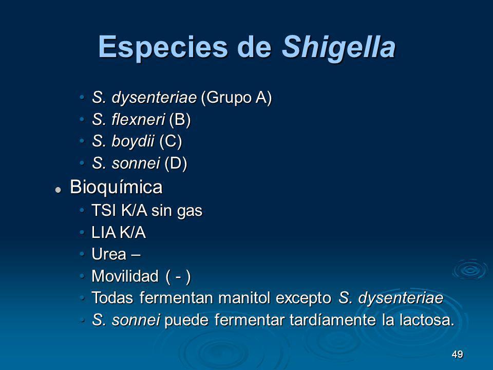 Especies de Shigella Bioquímica S. dysenteriae (Grupo A)