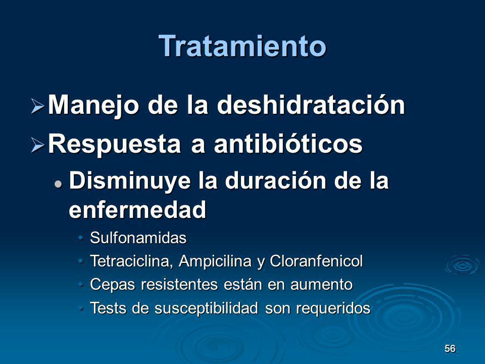 Tratamiento Manejo de la deshidratación Respuesta a antibióticos
