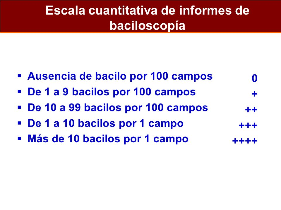 Escala cuantitativa de informes de baciloscopía